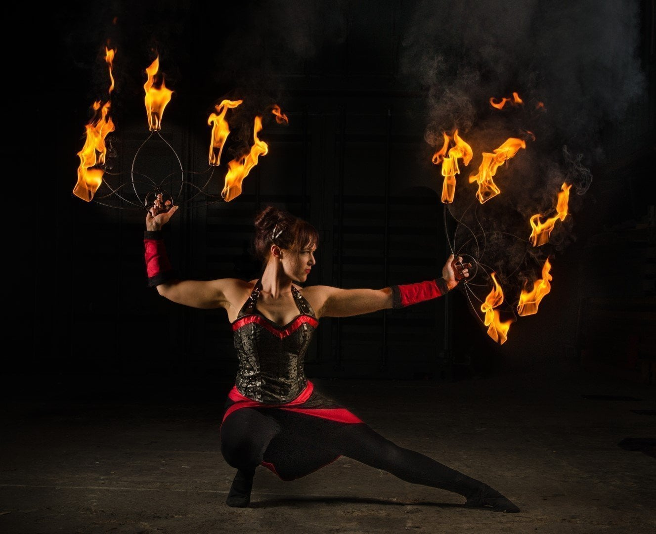 Fire Fans Circus Performer