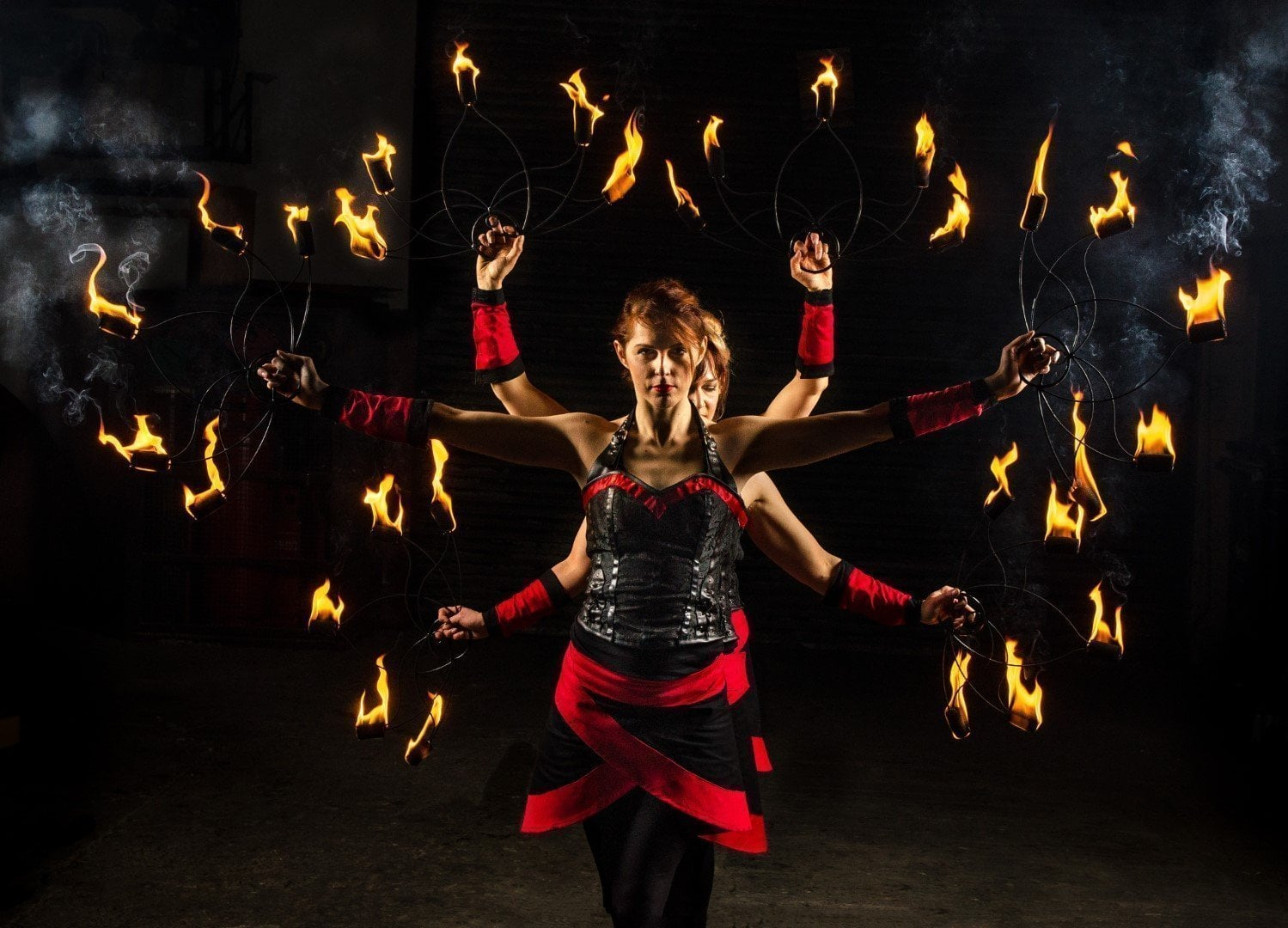 Fire Fans Circus Performance
